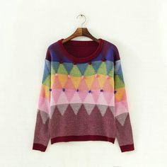 Fashion women elegant colours ball pullover knitwear Casual slim O neck long Sleeve knitted sweater