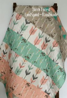 Hey, I found this really awesome Etsy listing at https://www.etsy.com/listing/245385646/baby-quilt-girl-woodland-birch-deer