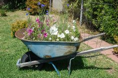 Cute way to recycle an old wheelbarrow. Mine just needs some paint and an inflated tire