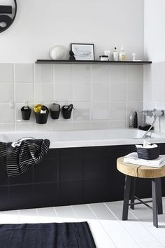 small bathroom remodel into a modern bathroom with with a legendary black touch Laundry In Bathroom, White Bathroom, Bathroom Interior, Modern Bathroom, Small Bathroom, Bathroom Ideas, Master Bathroom, Nature Bathroom, Houzz Bathroom