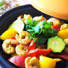 えびと夏野菜のスパイス蒸し
