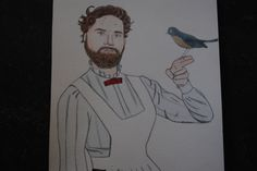 Zach Galifianakis and Mary Poppins mashup watercolor portrait by jillpetersenart on Etsy