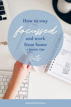 There's a fine line between working from home and actually getting work done. Grab my top five tips (plus some added extras!) inside and take the next step in moving you forward in your business. Work From Home Tips, The Next Step, Stay Focused, Business, Top, Store, Business Illustration