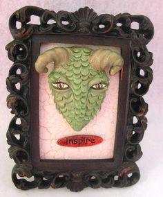 Green Dragon Head Inspire Fanciful Frame OOAK Art by britpoprose99, $19.99