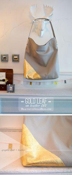 Gold Leaf on Leather Handbag DIY | Beautiful Hello Blog #jewelryinspiration #cousincorp