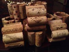 wine cork napkin rings - (corks glued to toilet paper tubes)