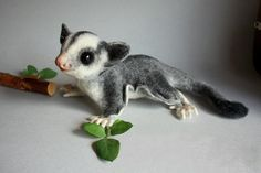 Needle felted animal - Felted Sugar Glider - Flying Squirrel - Funny and cute animal - Home decor - Luxury toy