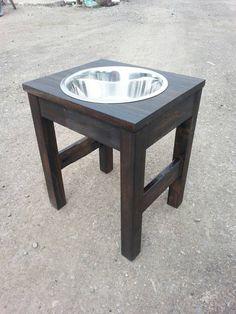 raised dog feeder / single bowl raised feeder /raised dog bowls / pet feeder / dog feeding station (Large) elevated food bowl / handmade