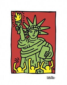 Giclee Print: Statue of Liberty, 1986 by Keith Haring : Keith Haring Poster, Keith Haring Art, Acid Trip Art, Radiant Child, Art Deco Bathroom, Hip Hop Art, Puzzle Art, Art History, Find Art
