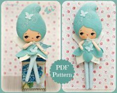 PDF. Cloud girl and rain drop brooch. Plush Doll by Noialand