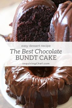 The Best Chocolate Bundt Cake This really is the best (and thankfully most foolproof) chocolate cake around. With a rich, thick glaze, this little beauty is great the day you make it, but even better after a day or two in the fridge. Best Chocolate Bundt Cake Recipe, Chocolate Fudge Brownies, Chocolate Recipes, Chocolate Glaze, Decadent Chocolate, Cake Chocolate, Chocolate Tarts, Bundt Cake Frosting Recipe, Easy Chocolate Desserts