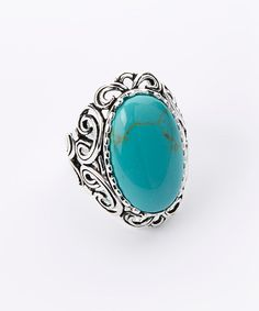 Take a look at the Turquoise Oval Stone Filigree Sterling Silver Ring on #zulily today!