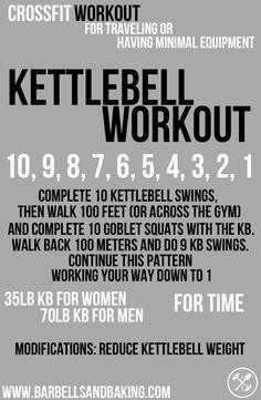 CrossFit Workouts for Traveling or Having Minimal Equipment   Kettlebell Swings, Carry, & Squats   www.barbellsandbaking.com
