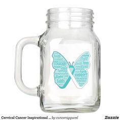 Cervical Cancer Inspirational Butterfly Mason Jar
