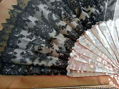 Black-Laced Mother of Pearl Victorian Hand-Fan