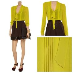 W118 by Walter Baker chartreuse Marisa blouse (Size L, Style no WG50522)