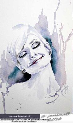 Audrey Hepburn I / Watercolour 27x17,5cm on Fabriano Studio  © janinaB. 2016
