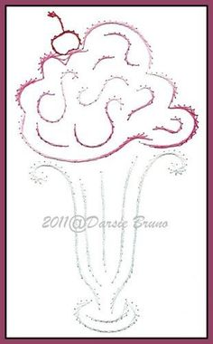 Ice Cream Sundae Summer Embroidery Pattern for Greeting by Darse, $1.50