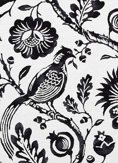 21105 295 Black/White by Duralee Fabric - - USA - H: 27 inches, V: 27 inches 54 inches - Fabric Carolina - Floral Upholstery Fabric, Peacock Fabric, Fabric Birds, Fabric Decor, Drapery Fabric, Fabric Design, Black And White Birds, Black And White Fabric, Best Bedroom Colors
