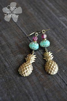 Golden Pineapple Earrings Boucles d'oreilles Ananas par CocoMatcha