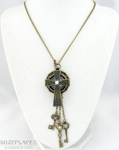Celtic Cross Pendant Watch Hand Made Necklace Crystal Key Bronze Tone Chain SuzePlace.com