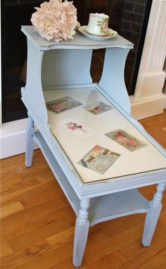 turn old end table into a memory table!   The Polka Dot Closet