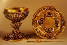 Calice, patena e cannuccia liturgica  1235 circa  oreficeria tedesca argento dorato e niellato  New York  Metropolitan Museum