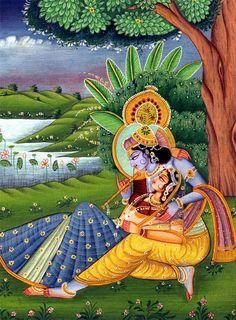 Painting of Radha and Krishna Hare Krishna, Radha Krishna Love, Pichwai Paintings, Indian Art Paintings, Mural Painting, Lord Krishna Images, Radha Krishna Pictures, Krishna Painting, Madhubani Painting
