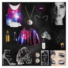 """""""Galaxy girl"""" by meerkattay17 ❤ liked on Polyvore featuring Accessorize, Stuart Weitzman, Cara, Lime Crime, Urban Decay, Lancôme, Mr. Gugu & Miss Go, Christian Dior, Calvin Klein and Alex Monroe"""