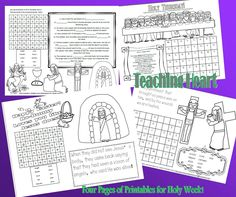 4 Printable Activity Sheets for Holy Week and Easter.  holyweekprintablesteachingheartpic