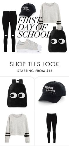 school by onikaa on Polyvore featuring Boohoo and adidas