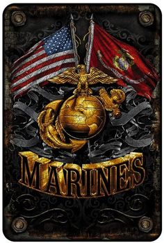 United States Marine Corps Double Flag With Gold Globe Aluminium Parking Sign - Ivey's Gifts and Decor Once A Marine, My Marine, Us Marine Corps, Marine Corps Tattoos, Marine Tattoo, Marine Corps Quotes, Marine Humor, Military Quotes, Military Humor