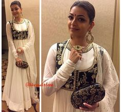 Kajal Agarwal # Sabyasachi # waist coat # Anarkali # white love #