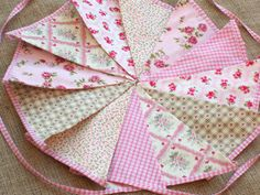 Vintage Rose Pink Double Fabric Girl Bunting 11ft Christening Birthday Tea Party | eBay