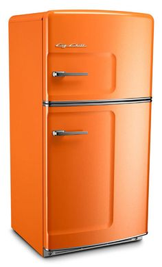 I absolutely LOVE this orange fridge. My dream home would have a 50's kitchen.