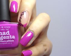piCture pOlish 'Mad Magenta' with leopard mani creation by Brit Nails!