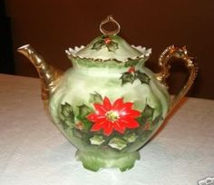 "Small Coffee pot for Lefton's ""Poinsettia""  shown with sugar and creamer"