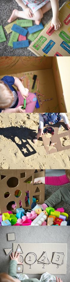 10 Learning Activities with a Cardboard Box for Babies, Toddlers & Preschoolers. www.acraftyliving.com