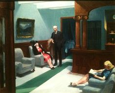 Hotel Lobby by Edward Hopper, oil, 1943, 32 1/4 x 40 3/4 inches, Indianapolis Mus. of Art