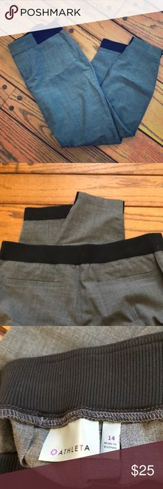 Athleta wool work it city pant Great work pant in grey with sweatpant like waistband and jogger-esque feel to them. Zipper and hook close with pockets and zippered side pocket as well (see picture) never worn! Athleta Pants Ankle & Cropped