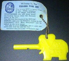 Plastic elephant shaped key to adventure for kids at the old Crandon Park Zoo on Key Biscayne.