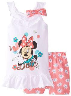 Disney Little Girls' 2 Piece Minnie Mouse I Love Dots Short Set, Pink, Kids Outfits Girls, Little Girl Outfits, Little Girl Fashion, Toddler Girl Outfits, Toddler Fashion, Little Girls, Disney Outfits, Disney Clothes, Girl Sweat