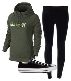 """""""hurley hoodie black leggings converse"""" by melissa-boucher-i on Polyvore featuring Hurley and Converse"""