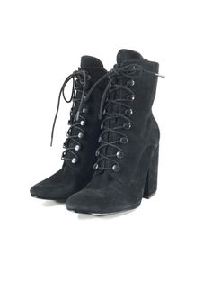 f465a539e0adab 99B NEW Kendall  amp  Kylie Bridget Heeled Lace-up Boot Women s Black Suede  Sz