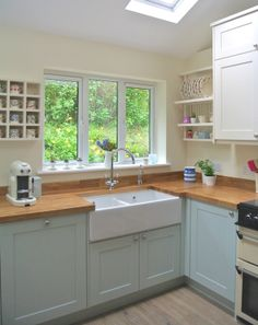 Farm style sink and butcher block counters.