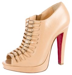Christian Louboutin Tan Leather Peep-toe Strappy 37 7 New Beige Boots. Get the must-have boots of this season! These Christian Louboutin Tan Leather Peep-toe Strappy 37 7 New Beige Boots are a top 10 member favorite on Tradesy. Save on yours before they're sold out!