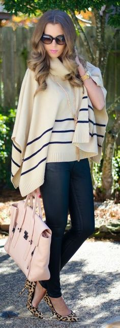 Cream And Black Stripe Detail Poncho