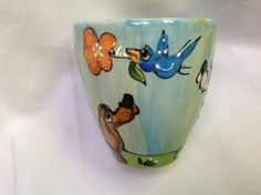 Coffee mug hand painted DACHSHUND signed by Debby Carman Faux Paw Productions by FauxPawProductions on Etsy