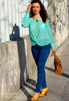 Color Mint   #fashion #style #outfit  #look, Primark in Shirt / Blouses, Blanco in Jeans, Primark in Heels / Wedges, Misako in Bags, Blanco in Jewelry