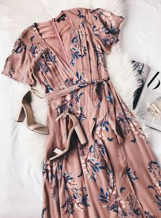 Fiorire Rusty Rose Floral Print Wrap Maxi Dress 6 - Outfits for Work Trendy Dresses, Cute Dresses, Summer Dresses, Maxi Dresses, Summer Clothes, Summer Shoes, Party Clothes, Wrap Dresses, Elegant Dresses